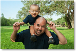 Happy Young Boy on his Father's Shoulders At a Park