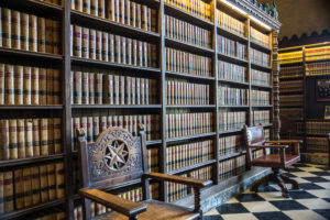 Vintage Bookcase with Rows of Law Books